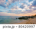 summer vacation landscape by the sea at sunrise. calm water washes sandy beach. dramatic clouds above horizon in morning light on the sky 80420997
