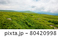 summer mountain landscape. beautiful nature scenery. stones on the grassy hills rolling in to the distant ridge beneath a cloudy sky. travel back country concept 80420998