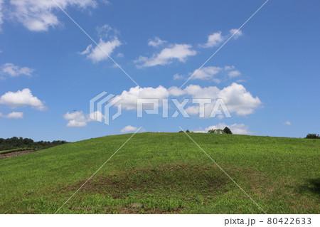 緑の小さな丘と白い雲と青空のある風景 80422633
