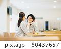 社員食堂でランチを食べる作業服の男女スタッフ 撮影協力「LINK FOREST」 80437657