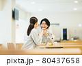 社員食堂でランチを食べる作業服の男女スタッフ 撮影協力「LINK FOREST」 80437658