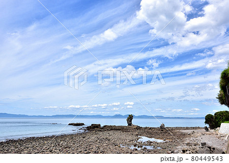両子岩 ふたごいわ 通称モアイ 島原半島ジオパーク 長崎県南島原市加津佐町  80449543