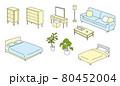 上から見た家具のイラストセット 80452004