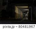 夜の高架(ガード)下の道路 防犯・暗い夜道のイメージ 東京都北区田端新町にて 80481967