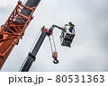 the automatic retractable boom of the crane and the foreman 80531363