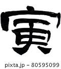 年賀状用干支筆文字「寅」 80595099