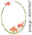 金魚と水草の飾り枠 80597607