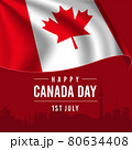 Happy Canada Day Greeting Card with Waving Flag on Red Background. 80634408