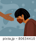 Covid-19 crisis, Someone giving hand to depression woman wearing mask 80634410