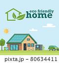 Illustration of eco friendly sustainable modern house. 80634411