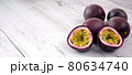 Fresh passion fruits on wooden table with copy space 80634740