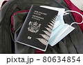 Travel concept during pandemic, New Zealand passport and face mask on a backpack.. 80634854