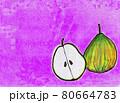 紫色背景の洋梨1 80664783