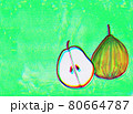 緑色背景の洋梨2 80664787