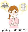将来のマイホームの夢について考える女性イラスト 80700258