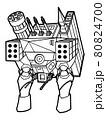 ロボットの塗り絵用線画イラスト(背景無し) 80824700