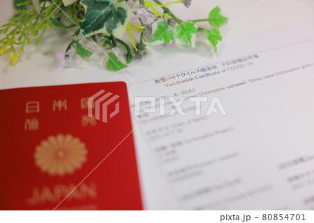 ワクチン接種証明書とパスポート_背景に観葉植物 80854701