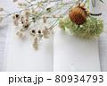 秋ボタニカルとノートのフレーム 80934793