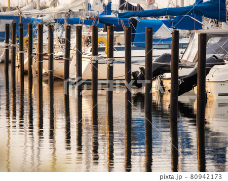 View of boats in the harbor 80942173
