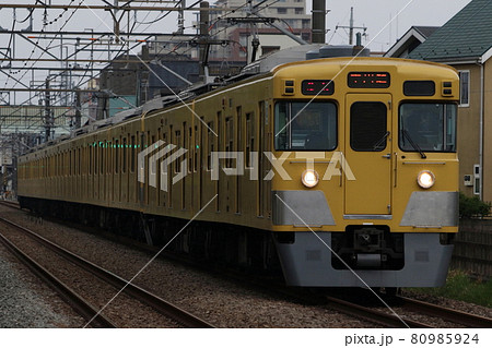 【西武新宿線】薄暗い夕方、花小金井~小平を往く2000系の急行列車 80985924