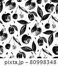 Seamless pattern with fruits in grunge style apple, cherry, plum, pear 80998348