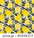 Seamless pattern with cute yellow chickens on a black and white background 80998353