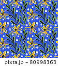 Seamless pattern with bright yellow flowers on a blue background 80998363