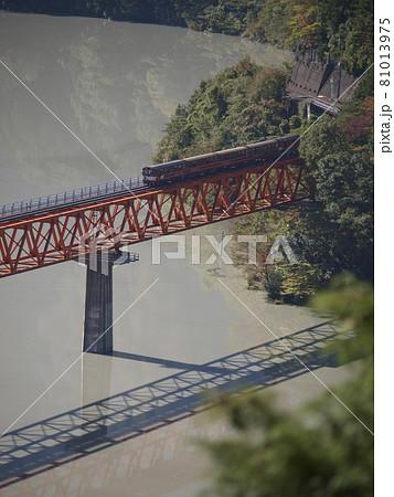 静岡県 接岨湖に架かる奥大井レインボーブリッジと通過するトロッコ列車 81013975