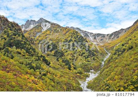 紅葉の横尾本谷と南岳 涸沢へ向かう登山道 81017794