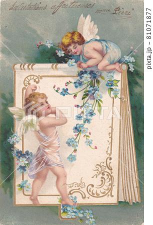 100年前のフランスの天使が描かれたアンティークポストカード 81071877