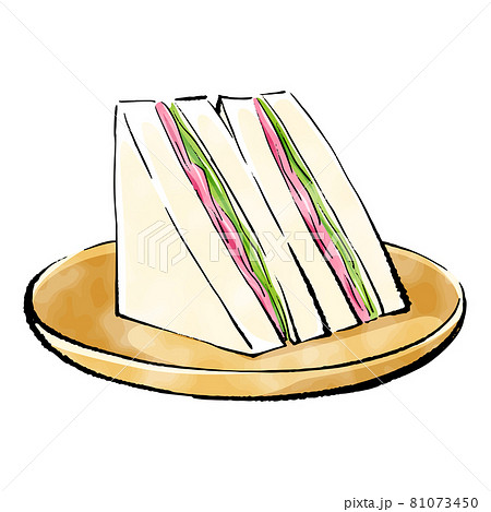 手書きラフスケッチ_ハムとレタスのサンドイッチ 81073450