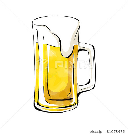 手書きラフスケッチ_大ジョッキのビール 81073476