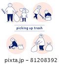 ゴミ拾い 男性 女性 親子 子供 家族 81208392