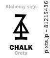 Alchemy Alphabet: CHALK (Latin: Creta), carbonate rock, form of Limestone composed of Calcite. Calcium carbonate: Chemical formula=[CaCO3]. Alchemical sign, Medieval symbol. 81215436