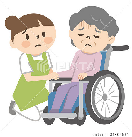 落ち込んだ感情の車椅子に乗ったシニア女性と寄り添う女性介護士 81302634