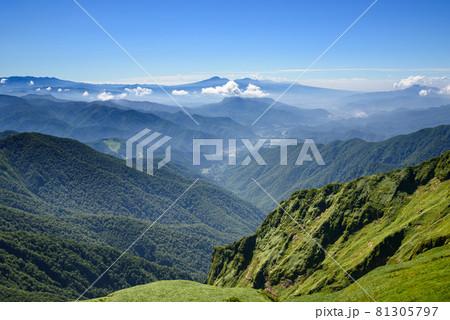 谷川連峰オジカ沢ノ頭付近からの絶景・山並み 81305797
