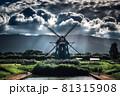アクアワールド水郷パークの風車と積乱雲 81315908
