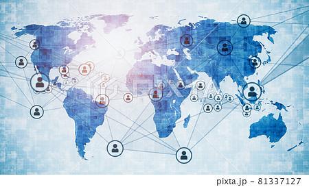 世界地図と人のネットワーク グローバルビジネス 81337127