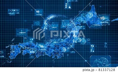 日本地図とデータ デジタルトランスフォーメーション 81337128