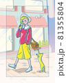 80年代ファッションの女の子/背景あり 81355804