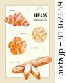 水彩風のパン・ポストカード 81362659
