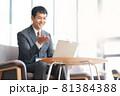 ノートPCでビデオ通話をするビジネスマン 81384388