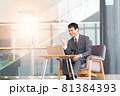 ノートPCでビデオ通話をするビジネスマン 81384393