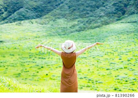 緑豊かな自然の中で旅行を楽しむ女性 81390266