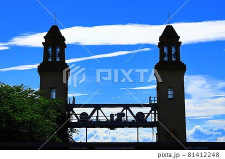 名古屋市中川区 中川運河側の松重閘門と尖塔 81412248