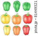 ピーマンとカラーピーマンとパプリカ(線1色) 81449321