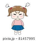 不機嫌な女の子のイラスト 81457995