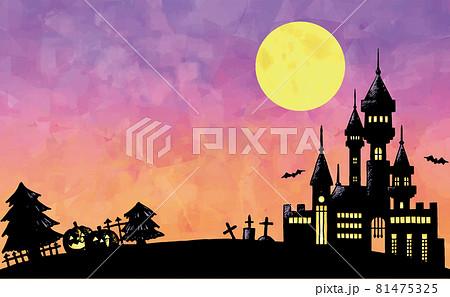 満月とお城 ハロウィンのイラスト 81475325
