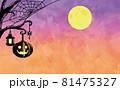 満月とかぼちゃ ハロウィンのイラスト 81475327