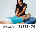 Anti-cellulite massage of hips. lymph drainage treatment. Woman receiving professional body, leg and foot massage. Wellness, healing and relaxation concept. 81533476